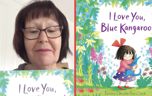 Clare Southall, reading helper at St Marie's Catholic Primary School reads 'I love you blue kangaroo'