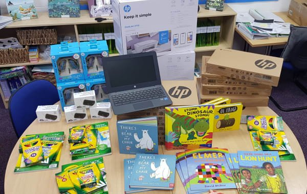 Coram Beanstalk schools receive new laptops and education packs donated by The Very Group